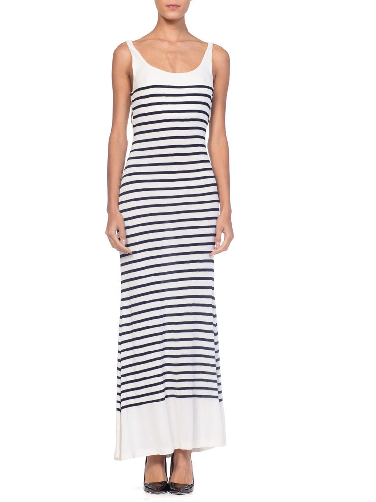 1990s Jean Paul Gaultier Nautical Striped Backless Jersey Dress For Sale 1
