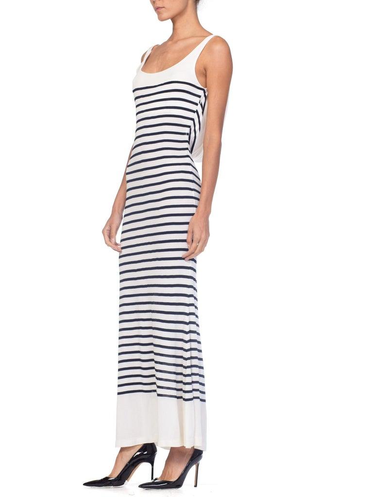 1990s Jean Paul Gaultier Nautical Striped Backless Jersey Dress For Sale 2