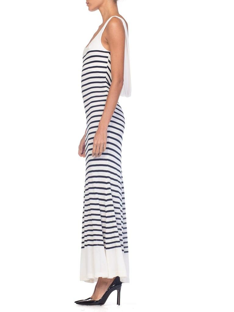 1990s Jean Paul Gaultier Nautical Striped Backless Jersey Dress For Sale 3
