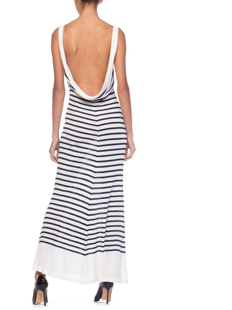 1990s Jean Paul Gaultier Nautical Striped Backless Jersey Dress In Excellent Condition For Sale In New York, NY