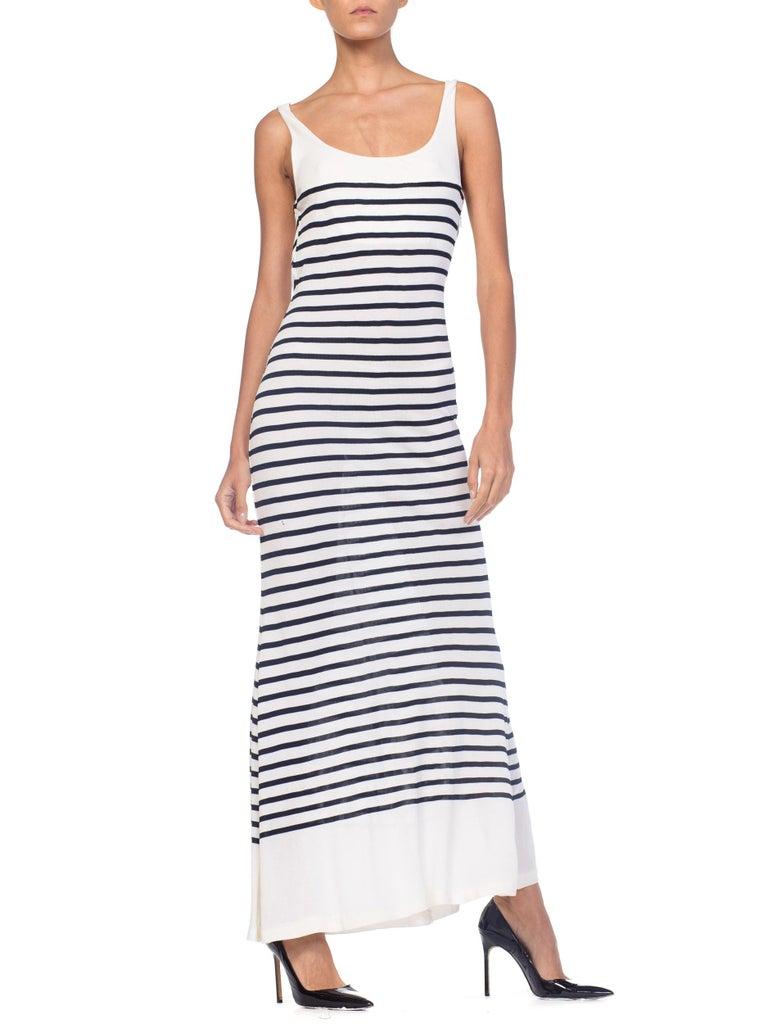 1990s Jean Paul Gaultier Nautical Striped Backless Jersey Dress For Sale 5