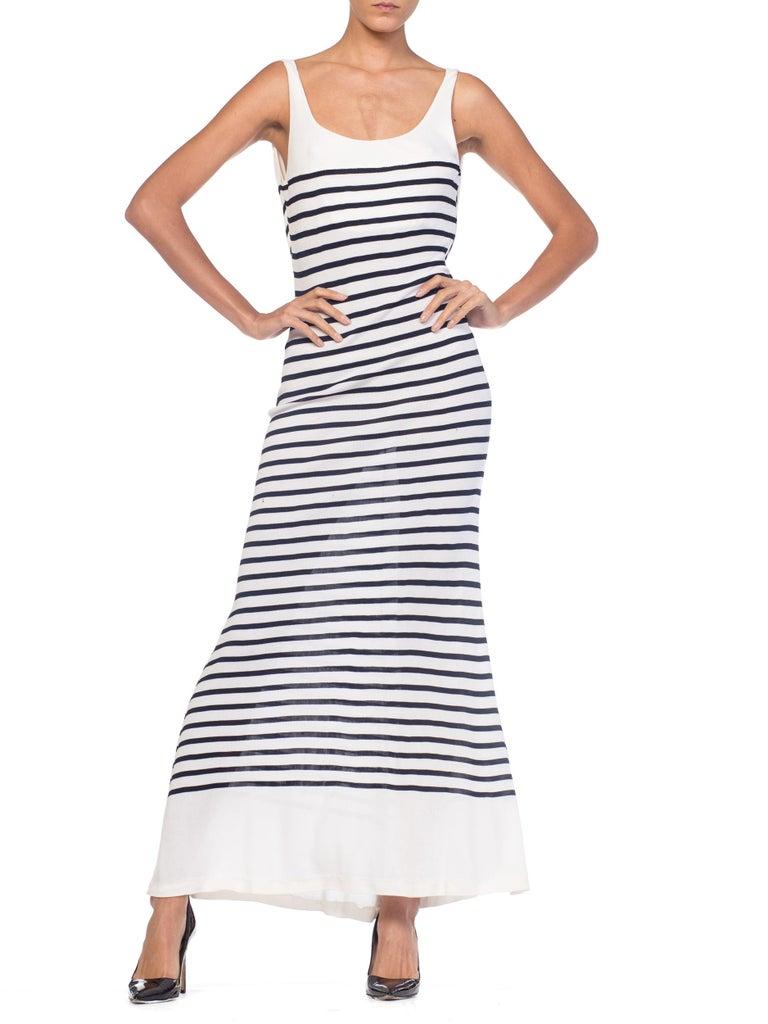 1990s Jean Paul Gaultier Nautical Striped Backless Jersey Dress For Sale 7