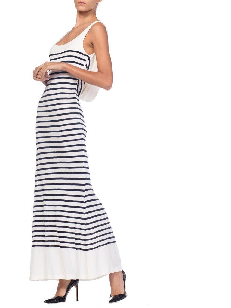 1990s Jean Paul Gaultier Nautical Striped Backless Jersey Dress For Sale 8
