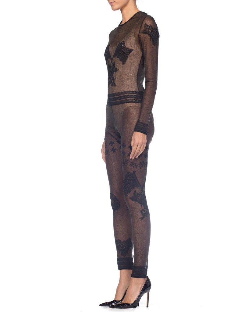 John Galliano Iconic Fall 1997 1990s Sheer Jumpsuit BodySuit For Sale 2