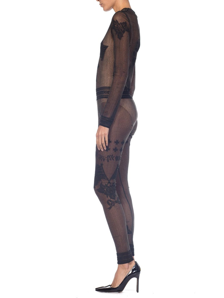 John Galliano Iconic Fall 1997 1990s Sheer Jumpsuit BodySuit For Sale 3