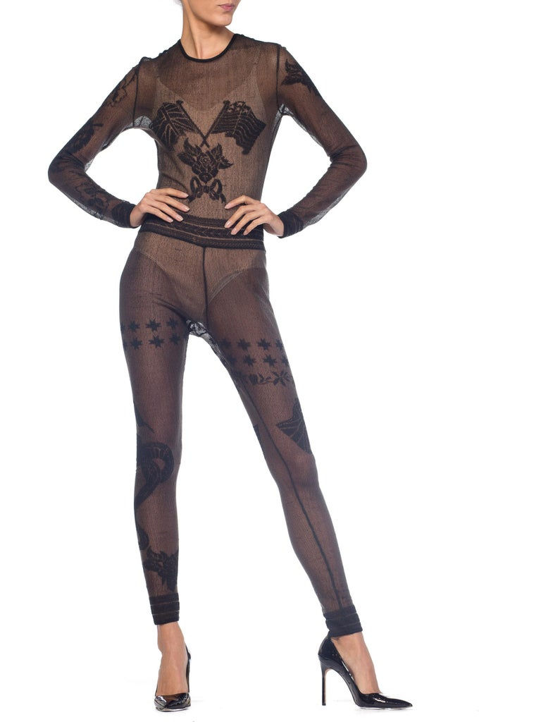 John Galliano Iconic Fall 1997 1990s Sheer Jumpsuit BodySuit For Sale 8