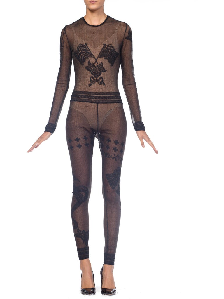 John Galliano Iconic Fall 1997 1990s Sheer Jumpsuit BodySuit For Sale 12