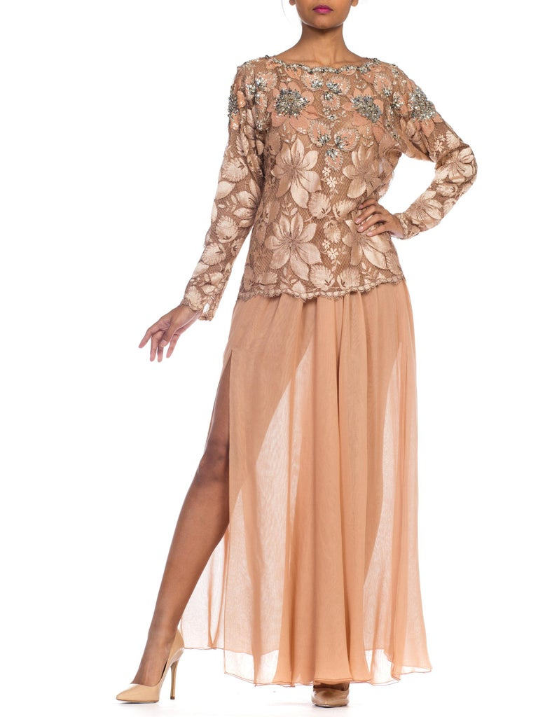 Beige Galanos Beaded Lace Evening Ensemble With Crystals & Chiffon Pants  For Sale