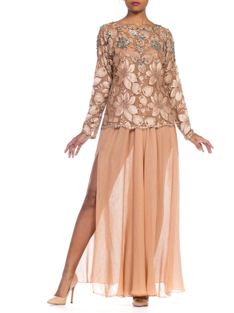 Galanos Beaded Lace Evening Ensemble With Crystals & Chiffon Pants  Large size clipped on model.. two piece set.