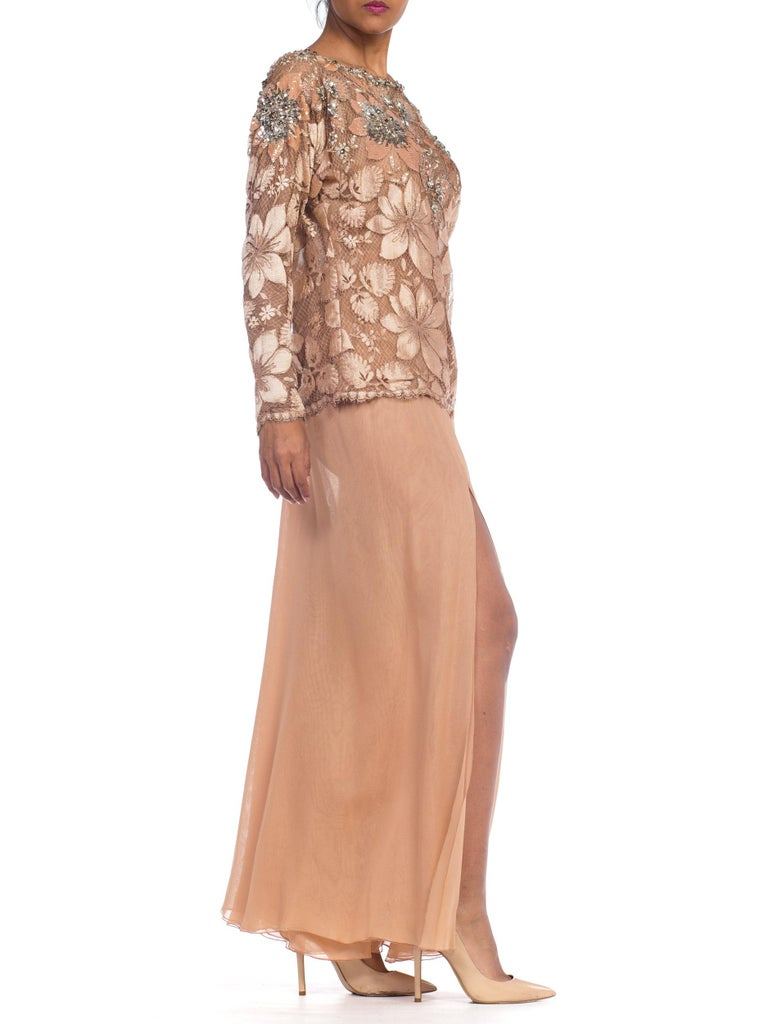 Galanos Beaded Lace Evening Ensemble With Crystals & Chiffon Pants  In Excellent Condition For Sale In New York, NY