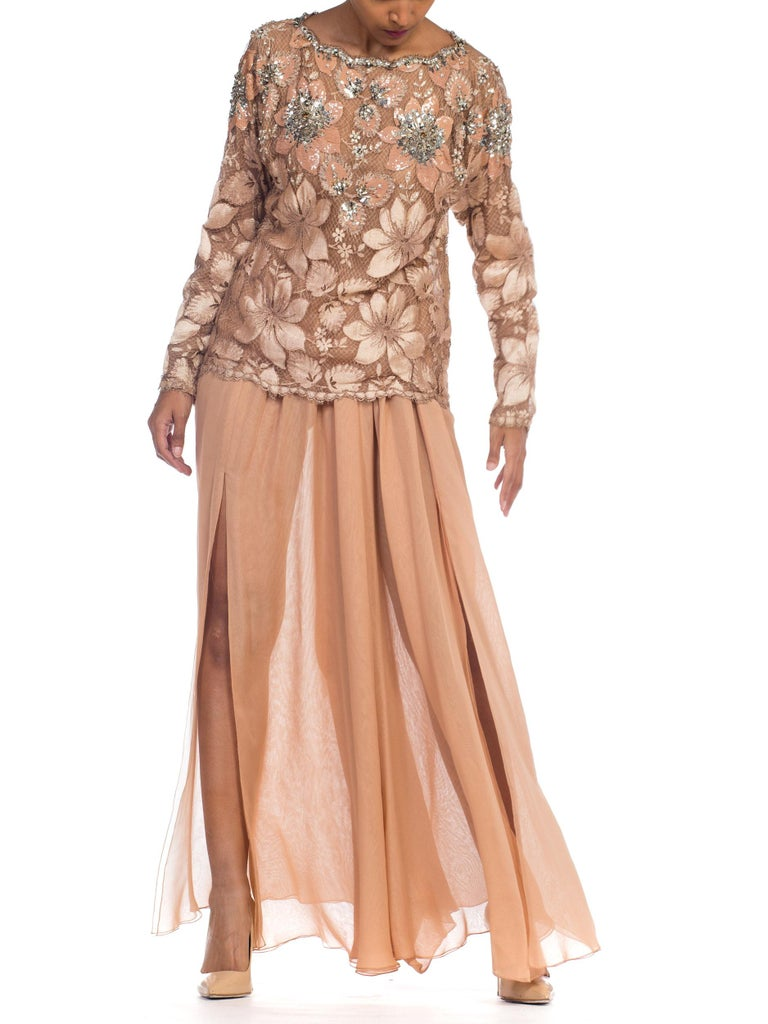 Galanos Beaded Lace Evening Ensemble With Crystals & Chiffon Pants  For Sale 1