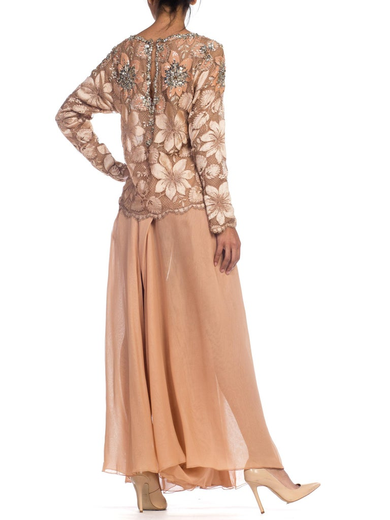 Galanos Beaded Lace Evening Ensemble With Crystals & Chiffon Pants  For Sale 3