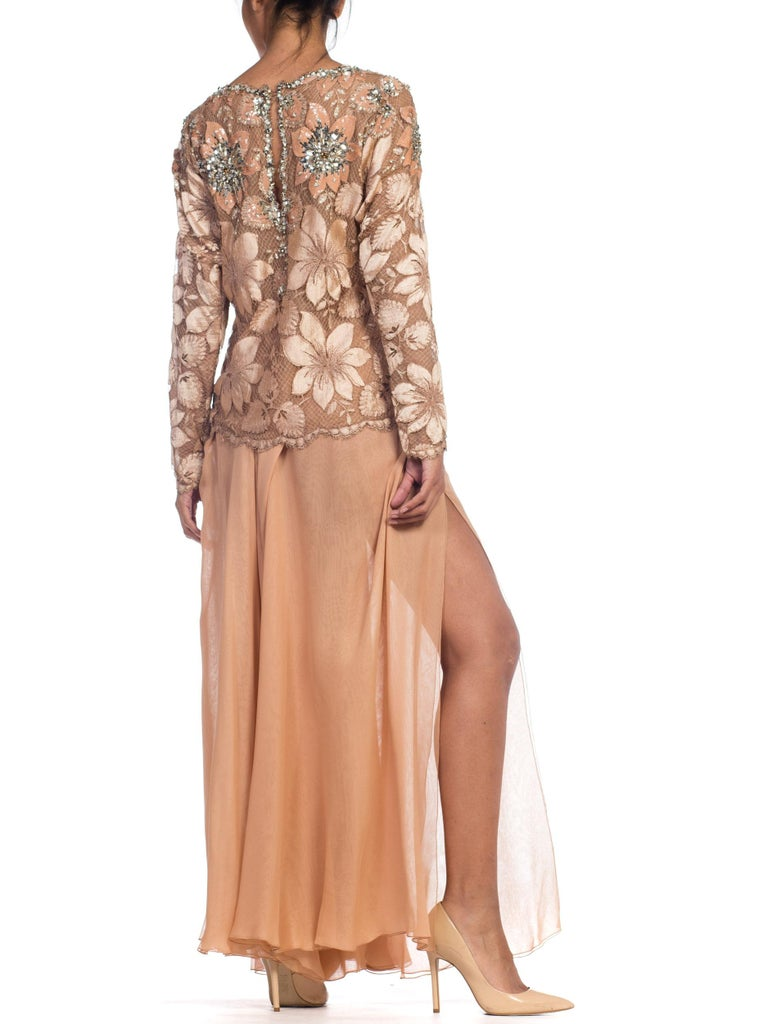 Galanos Beaded Lace Evening Ensemble With Crystals & Chiffon Pants  For Sale 4
