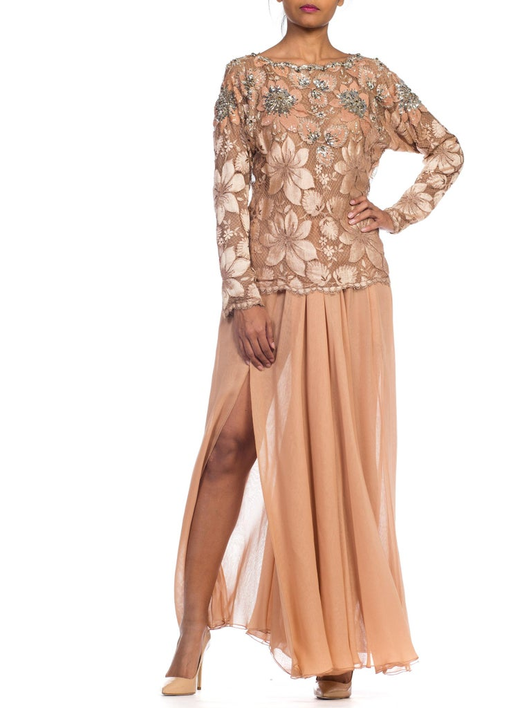 Galanos Beaded Lace Evening Ensemble With Crystals & Chiffon Pants  For Sale 5