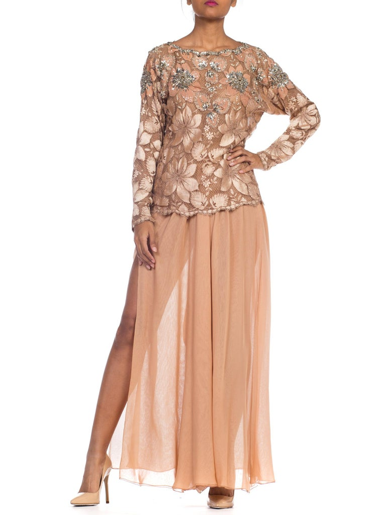 Galanos Beaded Lace Evening Ensemble With Crystals & Chiffon Pants  For Sale 10