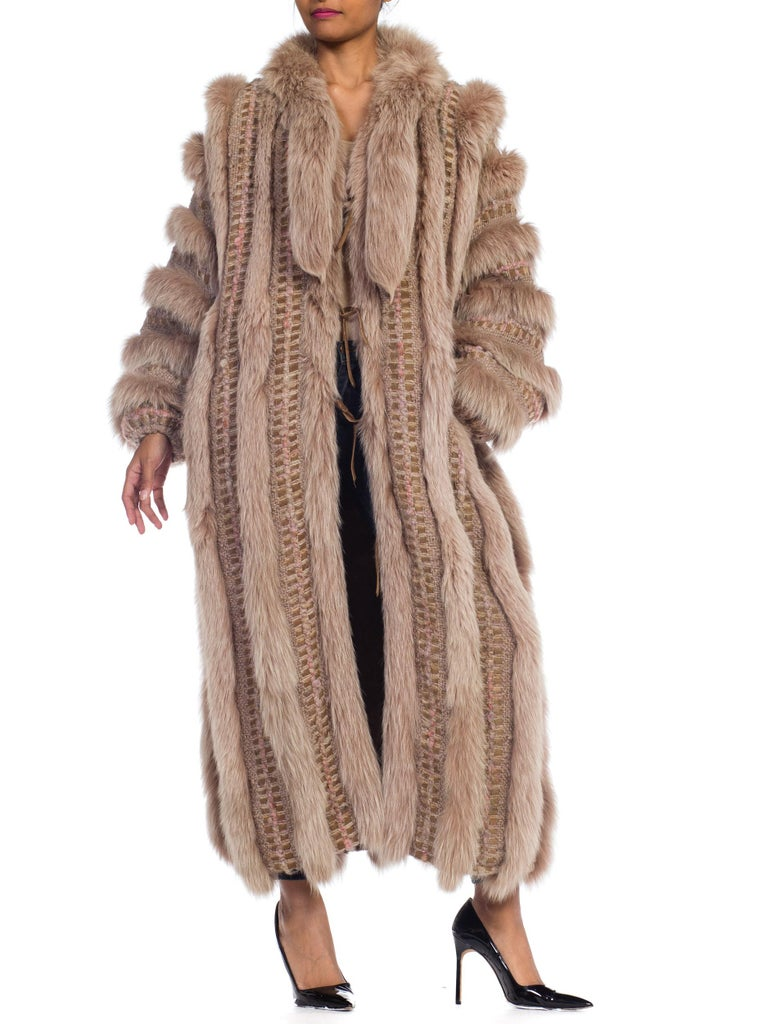 Brown Wild Oversized Fox Fur & Knit Coat For Sale