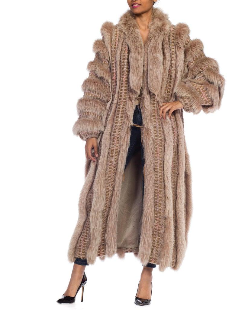 Wild Oversized Fox Fur & Knit Coat For Sale 9