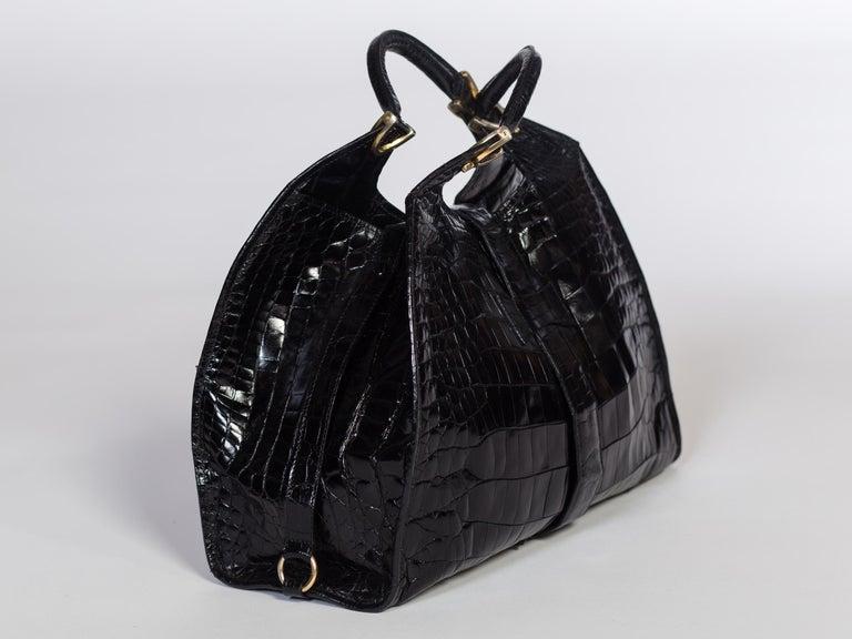 Women's 1970s Crocodile Belly Original Gucci Stirrup Bag For Sale