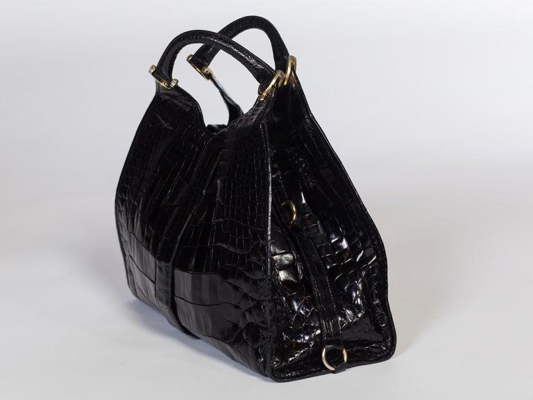 1970s Crocodile Belly Original Gucci Stirrup Bag For Sale