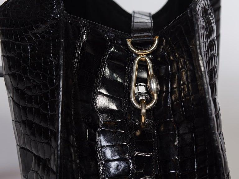 1970s Crocodile Belly Original Gucci Stirrup Bag For Sale 2