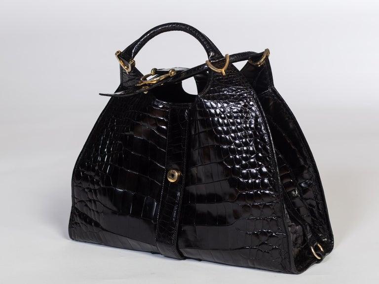 1970s Crocodile Belly Original Gucci Stirrup Bag For Sale 3