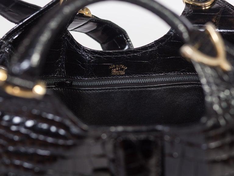 1970s Crocodile Belly Original Gucci Stirrup Bag For Sale 6