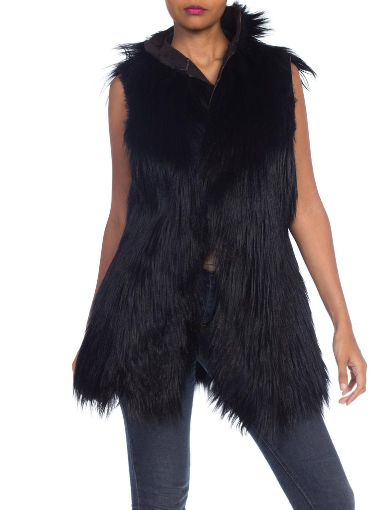 Dolce & Gabbana 1990s Black Shaggy Lamb Fur Vest In Good Condition For Sale In New York, NY