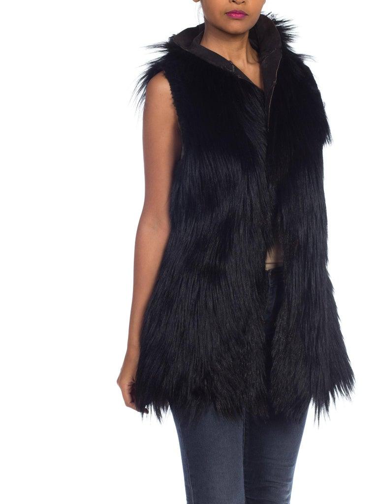 Women's Dolce & Gabbana 1990s Black Shaggy Lamb Fur Vest For Sale