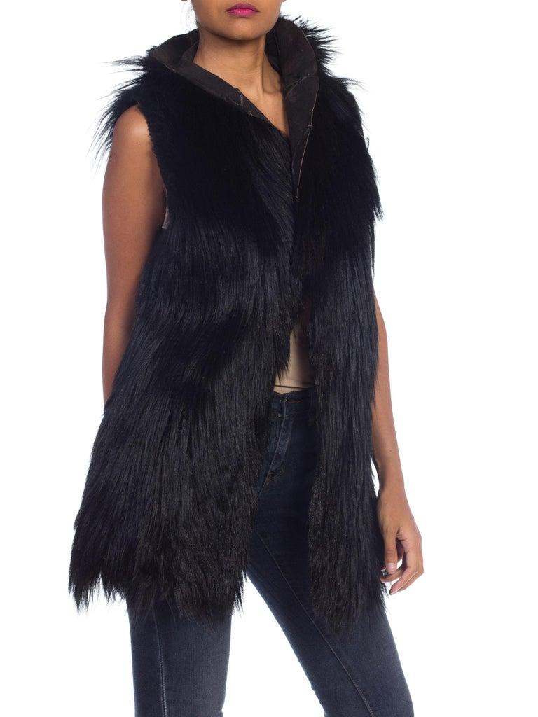 Dolce & Gabbana 1990s Black Shaggy Lamb Fur Vest For Sale 1