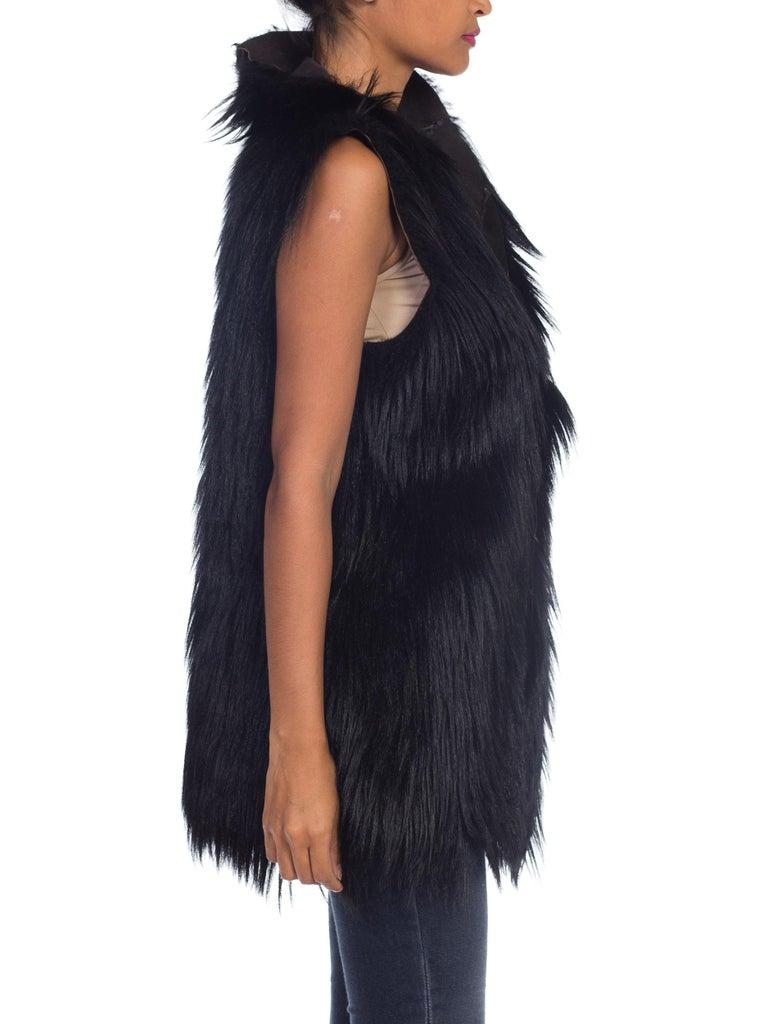 Dolce & Gabbana 1990s Black Shaggy Lamb Fur Vest For Sale 2