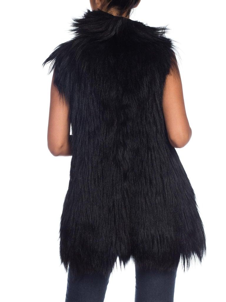 Dolce & Gabbana 1990s Black Shaggy Lamb Fur Vest For Sale 3