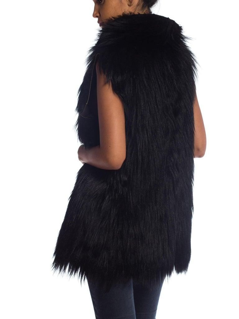 Dolce & Gabbana 1990s Black Shaggy Lamb Fur Vest For Sale 4