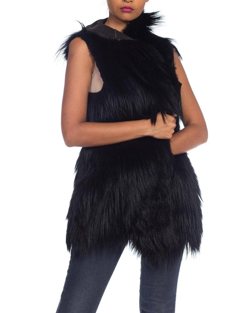 Dolce & Gabbana 1990s Black Shaggy Lamb Fur Vest For Sale 6