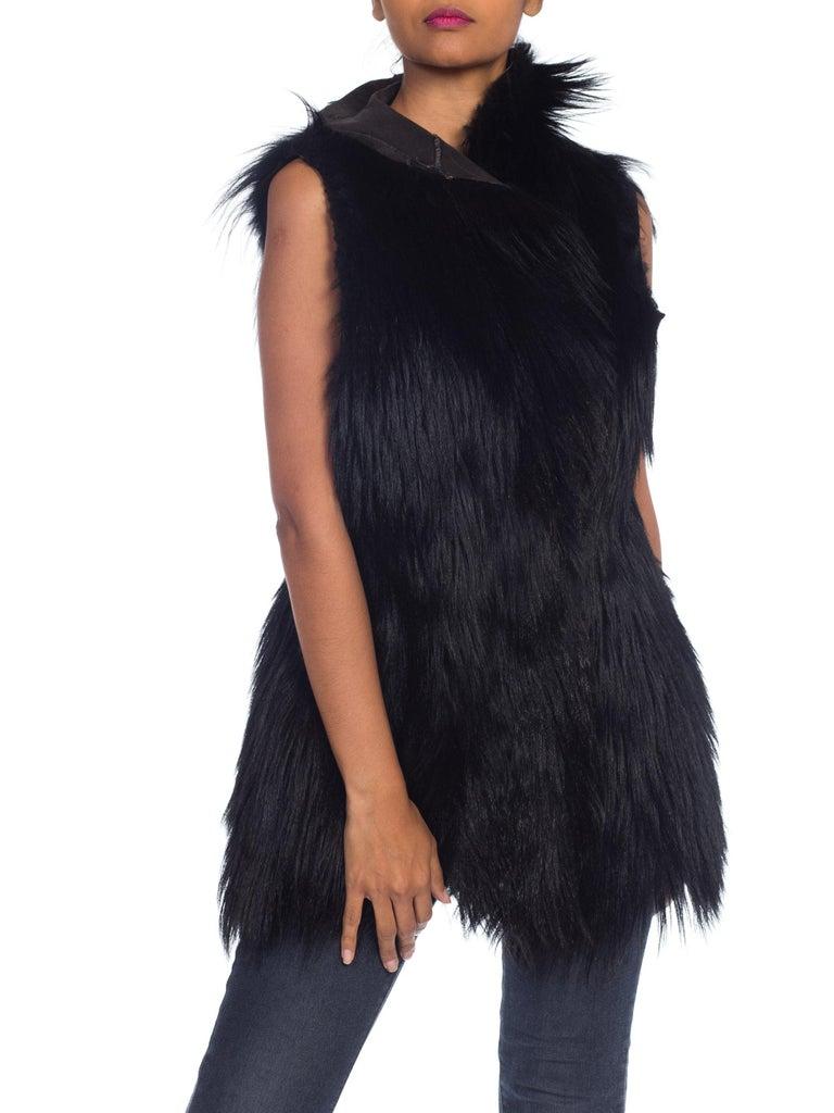 Dolce & Gabbana 1990s Black Shaggy Lamb Fur Vest For Sale 7
