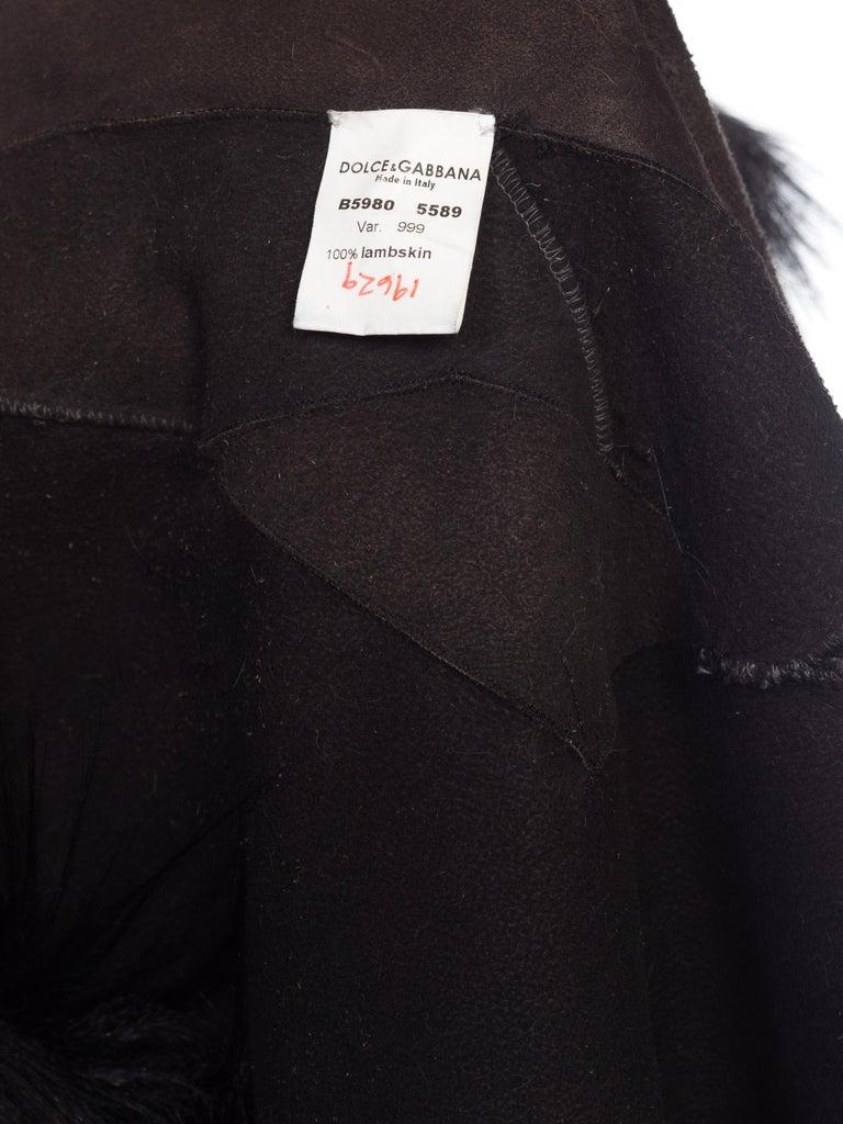 Dolce & Gabbana 1990s Black Shaggy Lamb Fur Vest For Sale 8