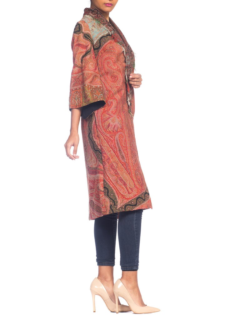 Hand Embroidered Coat Made From Antique Victorian Wool Paisley Shawls  In Good Condition For Sale In New York, NY