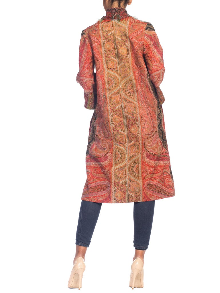 Women's Hand Embroidered Coat Made From Antique Victorian Wool Paisley Shawls  For Sale