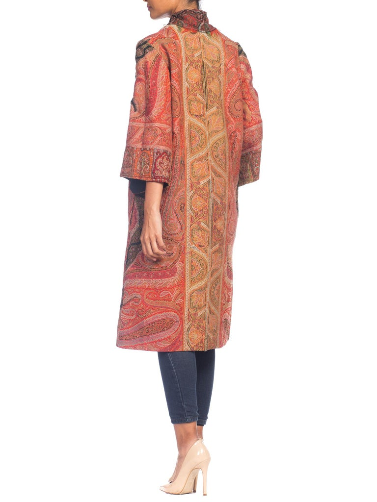 Hand Embroidered Coat Made From Antique Victorian Wool Paisley Shawls  For Sale 1