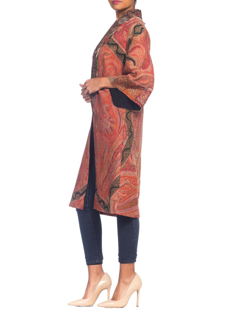 Hand Embroidered Coat Made From Antique Victorian Wool Paisley Shawls  For Sale 2