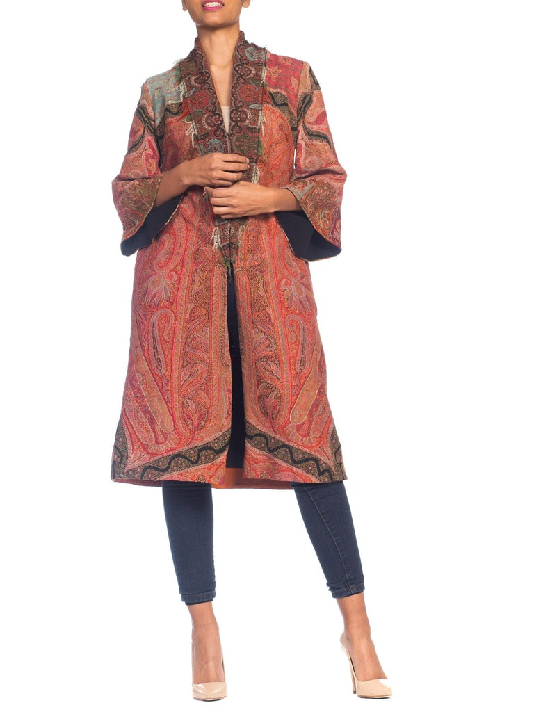 Hand Embroidered Coat Made From Antique Victorian Wool Paisley Shawls  For Sale 3