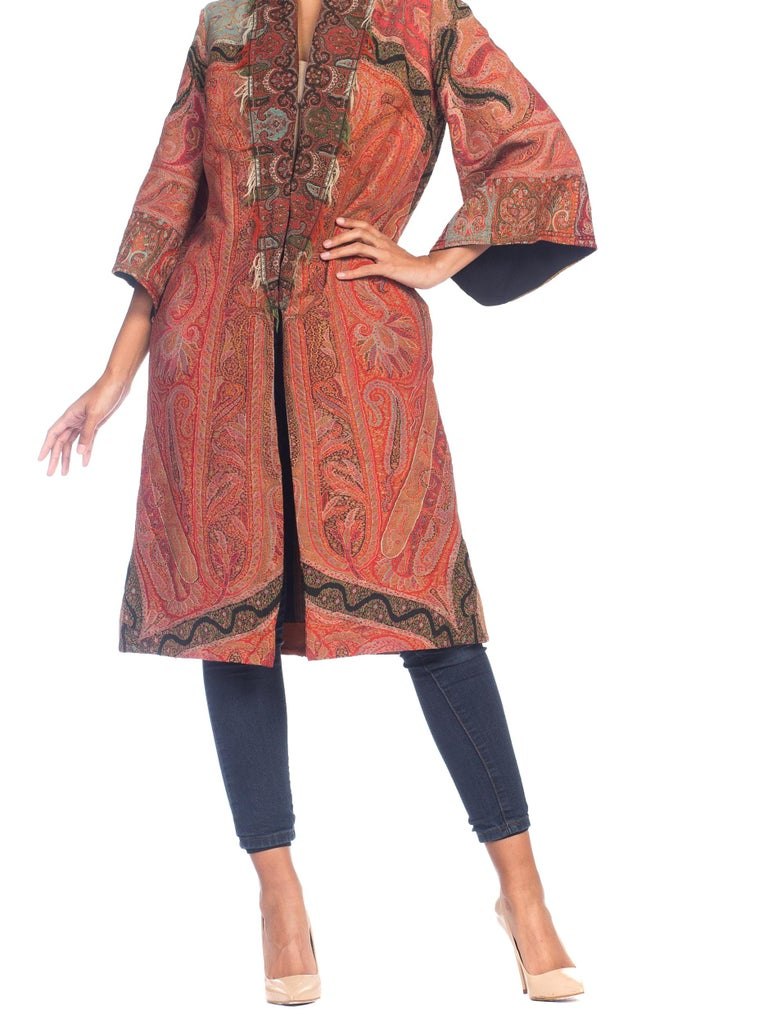 Hand Embroidered Coat Made From Antique Victorian Wool Paisley Shawls  For Sale 4