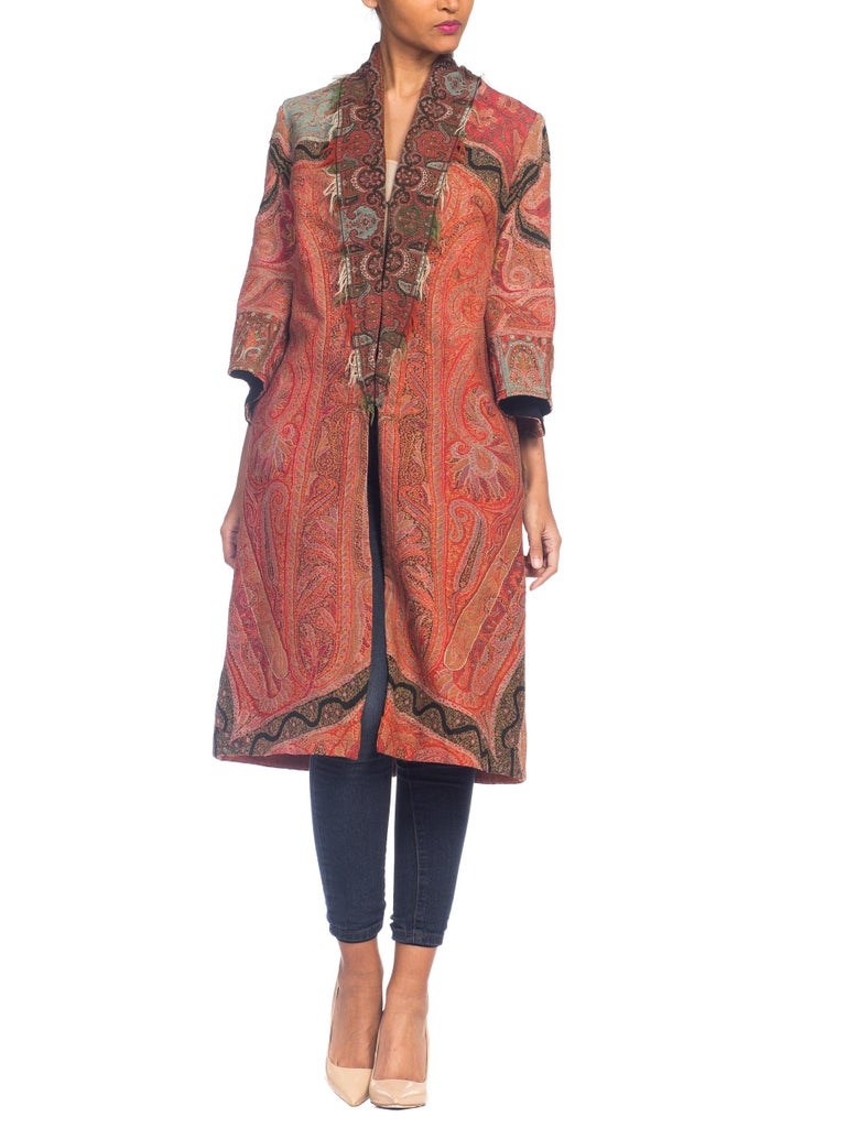 Hand Embroidered Coat Made From Antique Victorian Wool Paisley Shawls  For Sale 5