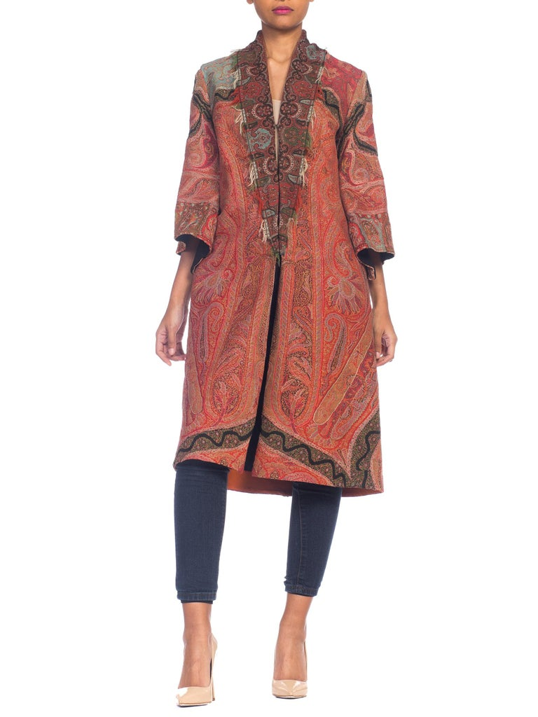 Hand Embroidered Coat Made From Antique Victorian Wool Paisley Shawls  For Sale 7