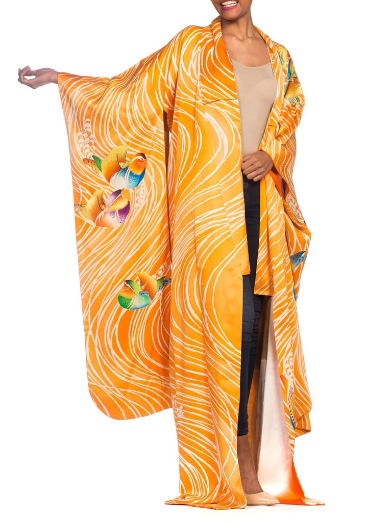 Hand Embroidered Japanese Silk Kimono In Orange With With Birds & Waves  For Sale 1