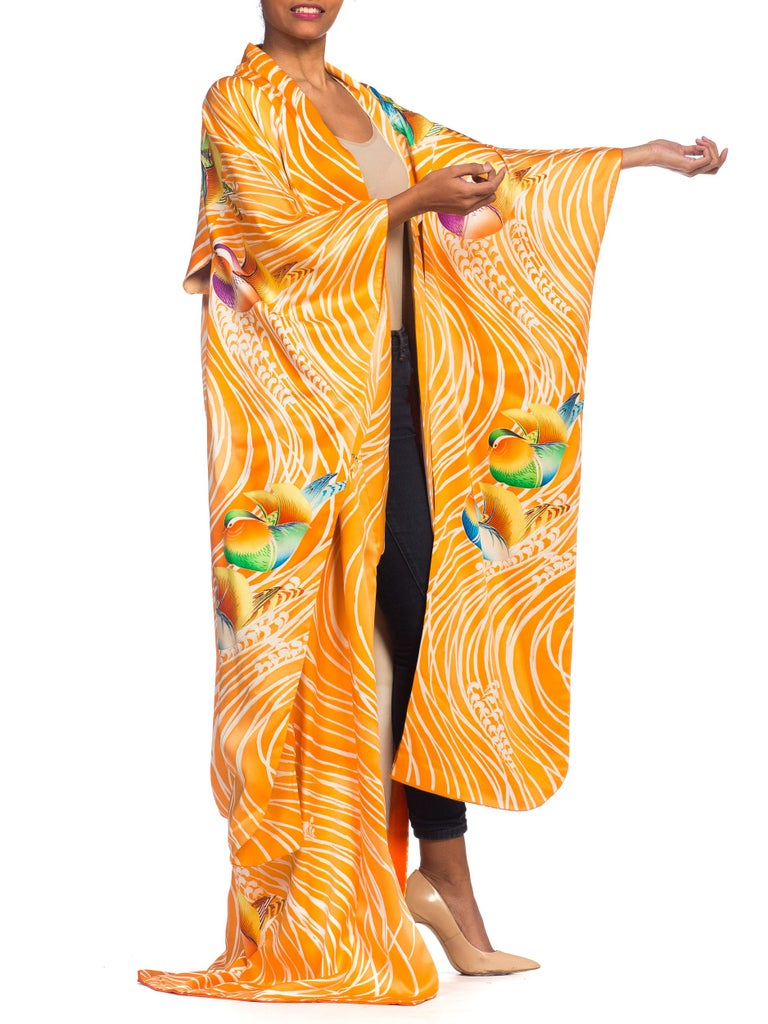 Hand Embroidered Japanese Silk Kimono In Orange With With Birds & Waves  For Sale 2
