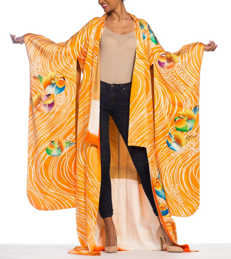 Hand Embroidered Japanese Silk Kimono In Orange With With Birds & Waves  For Sale 6