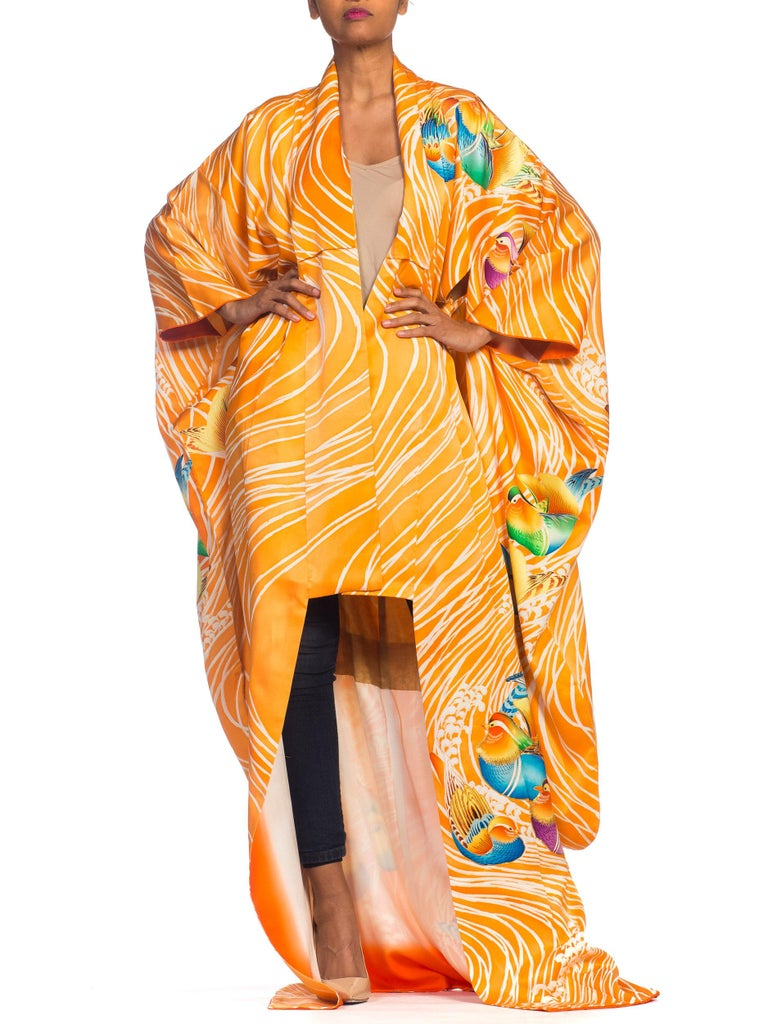 Hand Embroidered Japanese Silk Kimono In Orange With With Birds & Waves  For Sale 7