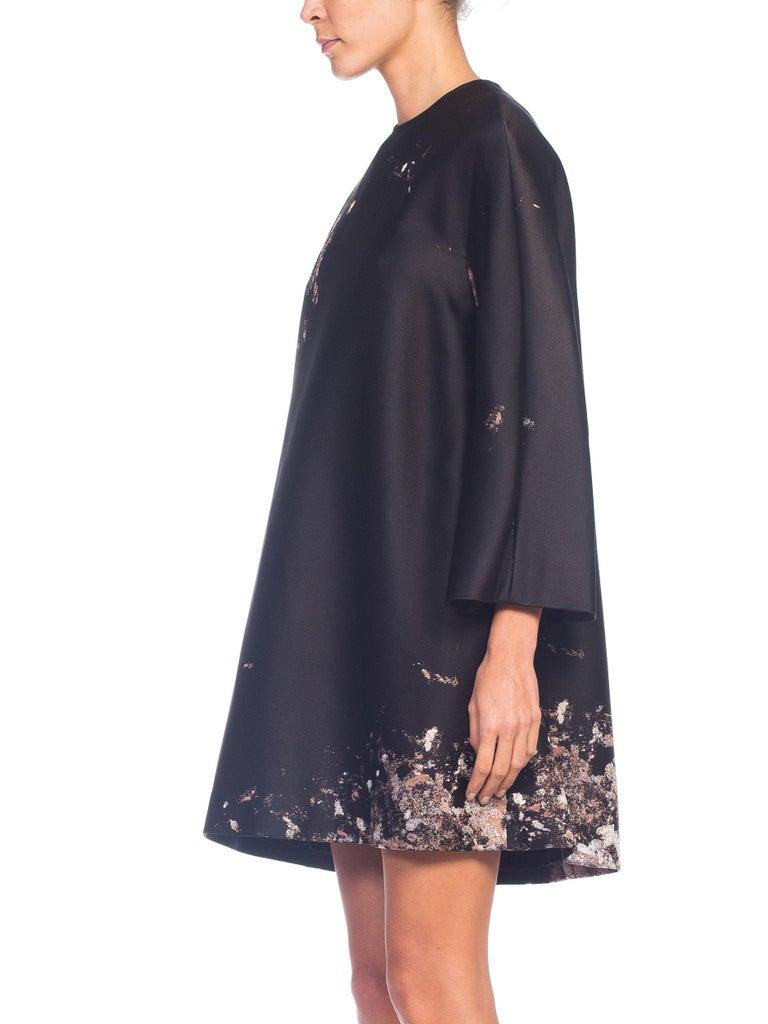 Black Giambattista Valli Paint Splatter Silk Jacquard Artist's Smock Tunic Dress For Sale