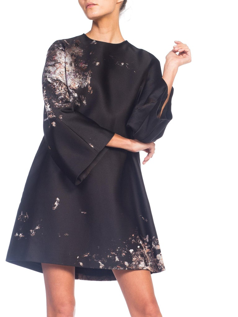 Giambattista Valli Paint Splatter Silk Jacquard Artist's Smock Tunic Dress For Sale 5