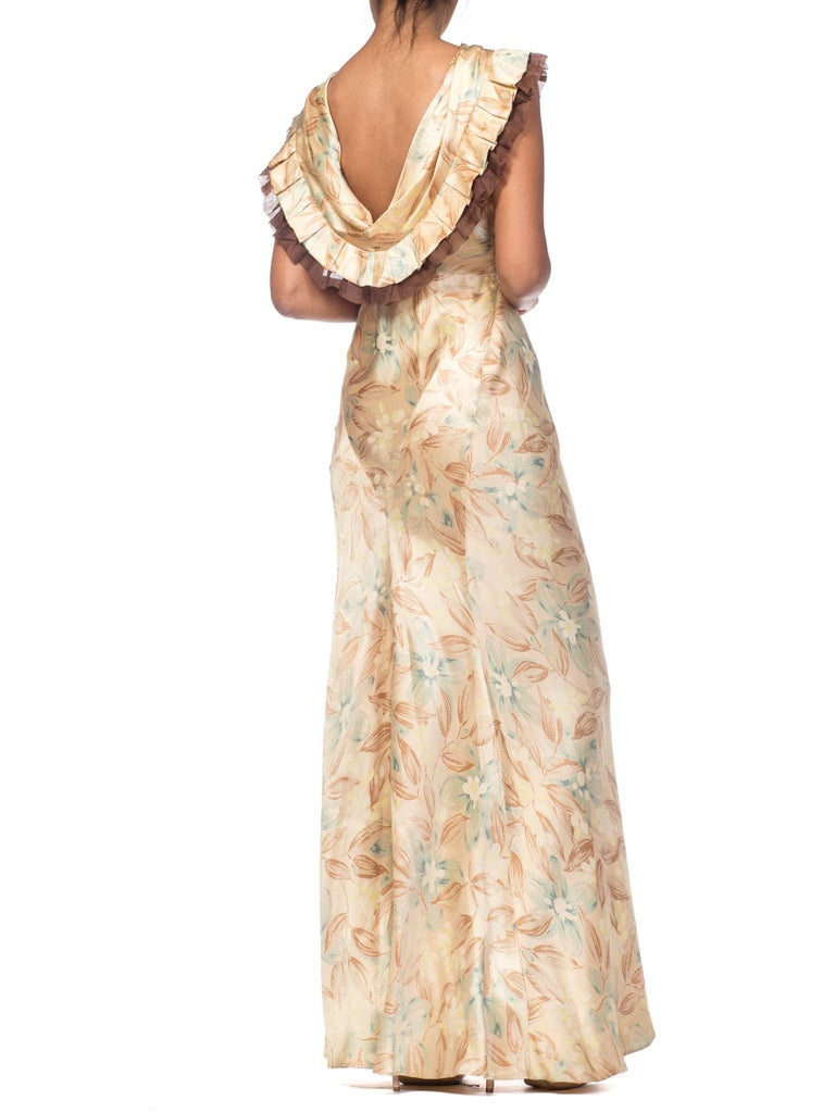 Women's 1930s Bias Cut Floral Satin Gown With Silk Ruffles  For Sale